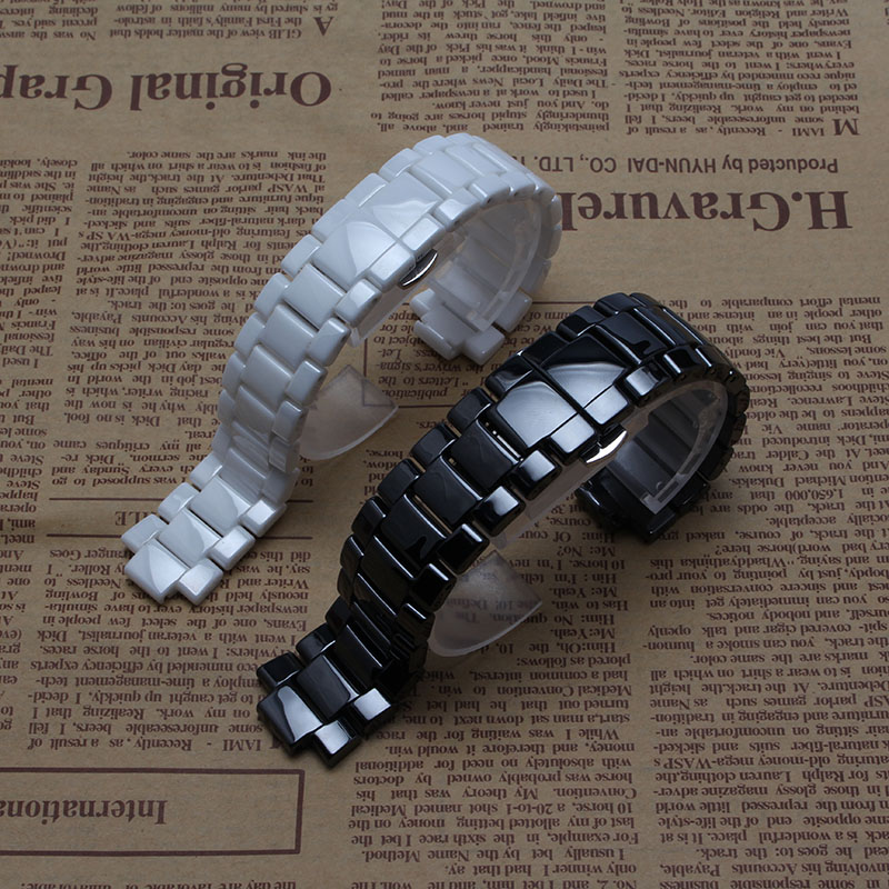 High quality pure ceramic watchband white black watch band strap Butterfly Buckle for wristband men 22mm  women 19mm ar1421 1426 for samsung gear s2 classic black white ceramic bracelet quality watchband 20mm butterfly clasp