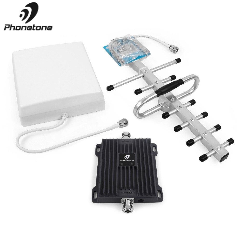 Amplificateur de Signal de téléphone portable 2G EGSM 900 MHz 3G WCDMA 2100 MHz Gain 65dB amplificateur répéteur de réseau GSM amplificateur + antennes Yagi - 5