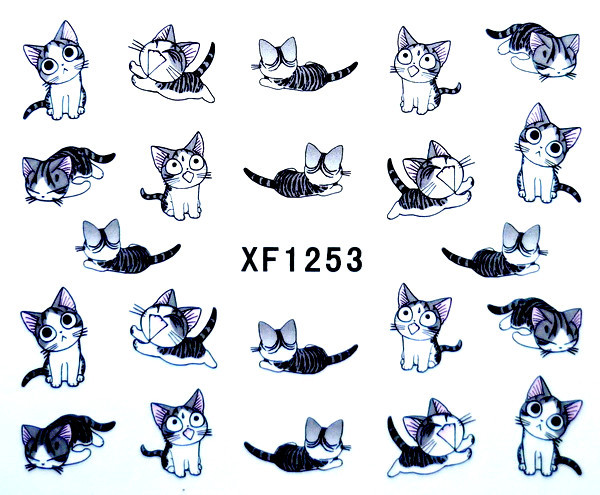 1 sheet Nail Art Water Transfer Sticker Decals Cute Cats New Stickers Decorations Watermark Tools XF1253 - Lady store