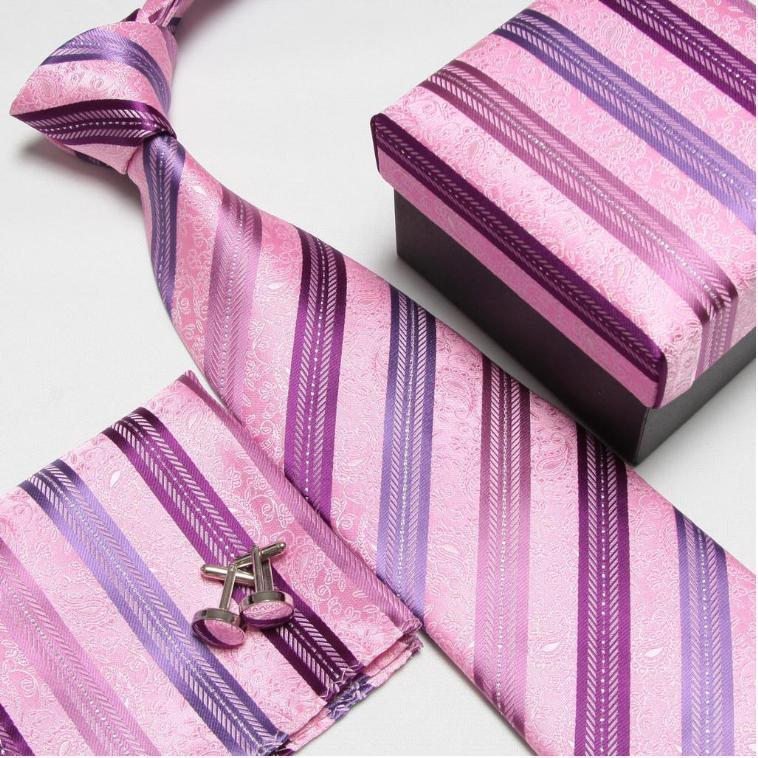 Полосатый набор галстуков галстуки Запонки hanky высокого качества галстуки Запонки карманные квадратные не-Тряпичные носовые платки#8 - Цвет: 13