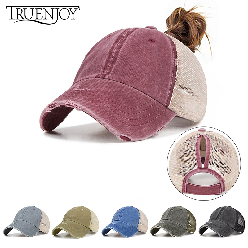 be77b18af TRUENJOY Summer Women's Mesh Ponytail Baseball Caps Fashion Snapback Caps  For Female Sport Hat Ladies Bone