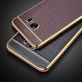 Teste padrão de couro de luxo de volta coque capa case para samsung galaxy s6 s7 borda mais s 6 7 silicone silicon tpu telefone original casos