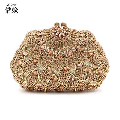 XIYUAN BRAND 2017 high quality and fashion European and American Style Hollow full diamond clutch evening bag Ladies wallets