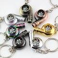 Cojinete de Manguito Spinning anillo Llavero Turbo Silbato de Sonido Real Pieza de Automóvil Modelo de Turbina del Turbocompresor Llavero Anillo de Llavero Llavero