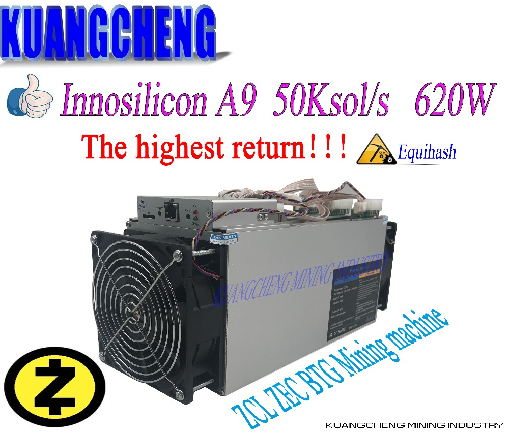 Old 90%new Innosilicon Equihash A9 ZMaster Asic Miner 50K/s 620W Zcash BTG Intelligent Miner Better Than Antminer Z9 S9 T9 Miner