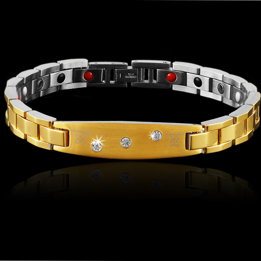 Wollet Jewelry Bio Magnetic Stainless Steel Bracelet CZ Stone For Gold Color 4 in 1 Infrared Hematite Germanium Magnet in Chain Link Bracelets from Jewelry Accessories