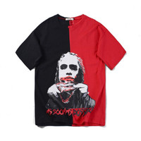 Spring Summer 2009Street Loose round collar Printing couples Hip hop A spoof clown Loose leisure Joker Black and Red T shirt Men