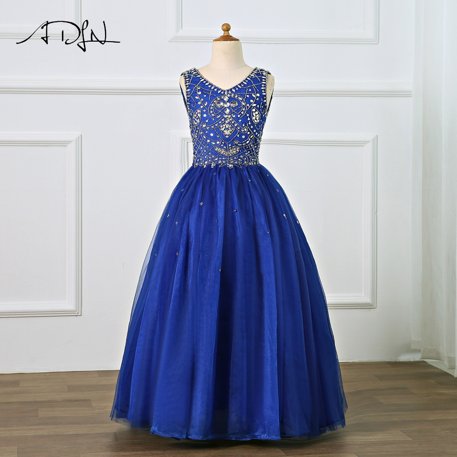 ADLN Blue   Girls   Pageant   Dress   With Beading A-line   Flower     Girl     Dresses   Kids First Communion   Dresses   Evening Party Gowns