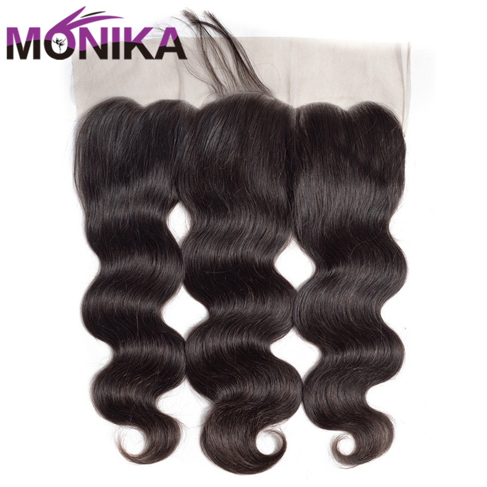 Monika Hair Body Wave Peruvian Lace Frontal Free/Middle Part Human Hair Lace Closure 13x4 Ear to Ear Frontal Non Remy Closure