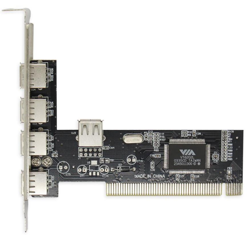 5-Port High Speed USB 2.0 PCI Controller Card Chip (4+1) High Quality PCI Riser Cards Adapter Sep03