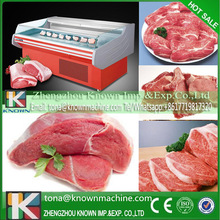 R22 Stainless steel best price cooling display cabinets for supermarket food fresh meat with automatic defrosting way by sea