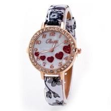 Мода Женщин Смотреть Новый Любящее Сердце Искусственного Кожаный Ремешок Аналоговый Кварцевые Наручные Часы relogio feminino Dropshipping Бесплатная Доставка #40