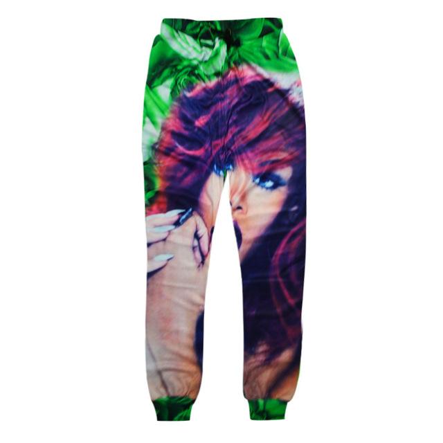 Nova moda dos homens/mulheres 3d impressão sexy famale padrão calça casual harem pants jogger sweatpants projeto hip hop verde calças