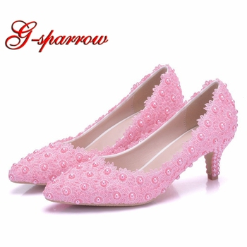5cm Middle Heel Women Dress Shoes Pointed Toe Wedding Dress Shoes Pink Lace Flower Bridesmaid Shoes Princess Party Heels Size 43