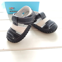 2015 Summer New OMN Navy White Patchwork Genuine Leather Baby Boys Sandals Toddler Shoes For Children
