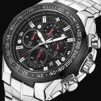WWOOR Novos Homens Relógio Do Esporte Da Forma Relógio de Quartzo Relógios de Marca De Luxo Negócios Relogio masculino de Aço Todos Os quatro pequenos mostradores de trabalho