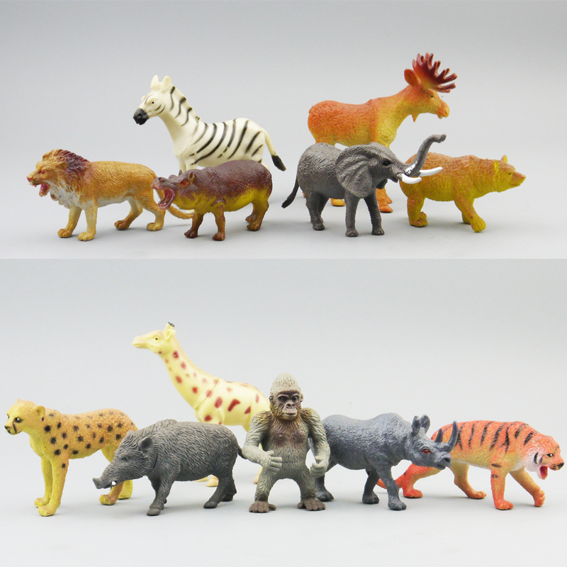 Simulation pvc  figure Wild animal toy model  giraffe lion suitl toy model gift  12pcs/set купить