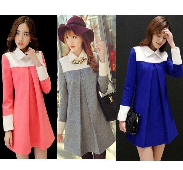 fd545622858 A Style Plus Size Autumn Winter Cute Maternity Clothing Dresses for  Pregnant Women Clothes Woolen Dress Pregnancy Long Tops