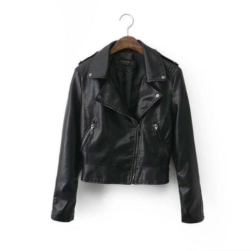 New Arrival Casual Warm Long Sleeve Ladies Basic Coat feminina jacket Women Winter Lapel long sleeve leather jacket S4
