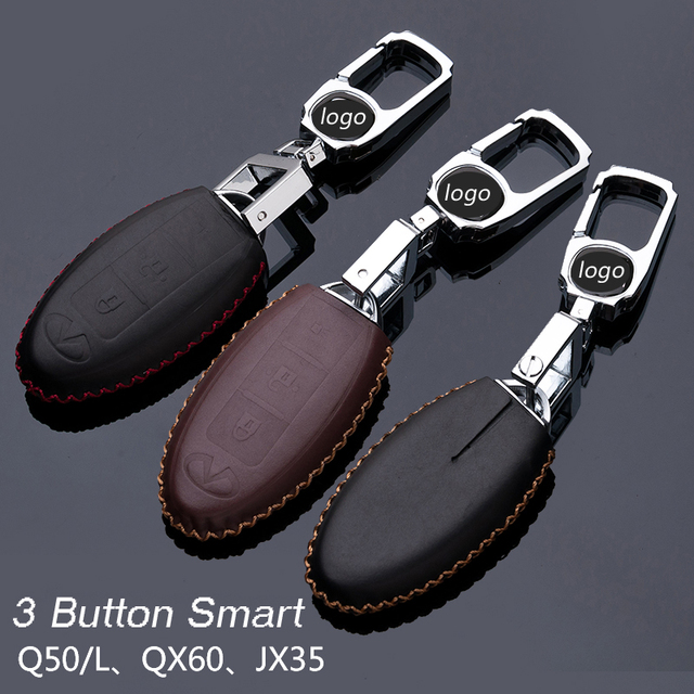 Genuine Leather Car Keychain Key Fob Case Cover for Infiniti Q50/L QX60 JX35 QX50 3/4 Button Smart Key Holder Auto Accessories