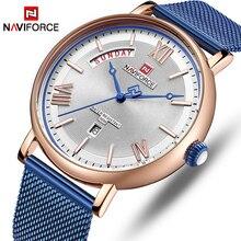 NAVIFORCE Horloge Mannen Fashion Business Horloges mannen Casual Waterdicht Quartz Horloge Blauw Staal Mesh Klok Relogio Masculino-in Quartz Horloges van Horloges op Aliexpress.com | Alibaba Groep