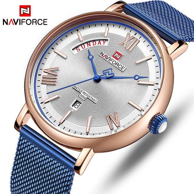 NAVIFORCE Watch Men Fashion Business Watches Men's Casual Waterproof Quartz Wristwatch Blue Steel Mesh Clock Relogio Masculino
