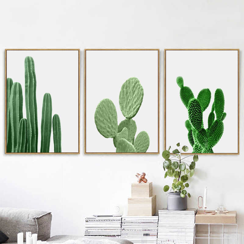 Fashion Nordic Green Plant Cactus Poster Minimalist Canvas Art Printed Painting Home Decor For Living Room Office Wall Pictures