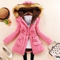 11 Colors S-3XL 2016 New Korea Style Women Winter Cotton Jacket Long Thicken Fur Hooded Coat Female Zipper Pocket Outwear ZS566