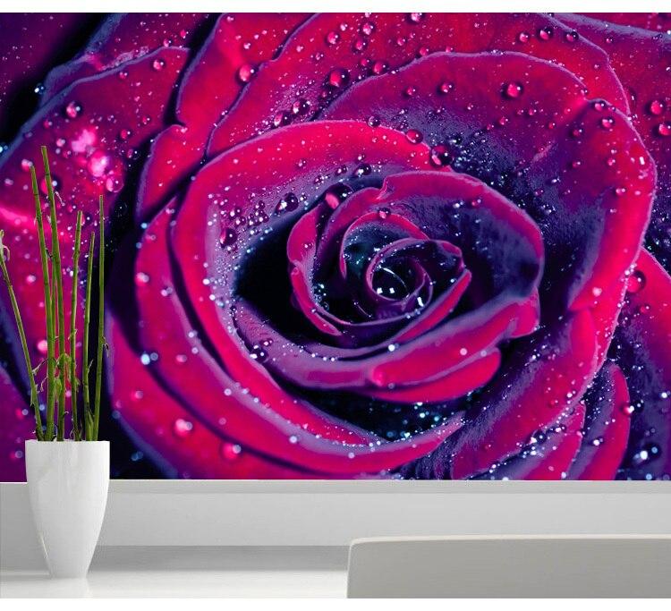 Custom Photo Wallpaper Red Rose 3D Wallpaper Flowers Large