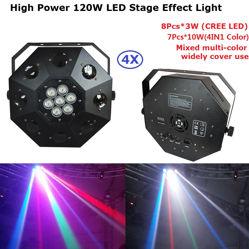 Cree Led Lights >> Us 531 0 4xlot Dj Lighting Projector 8x3w Cree Led Lamp 7x10w Rgbw 4in1 Professional Led Dancing Floor Lights 110 220v Fast Shipping In Stage