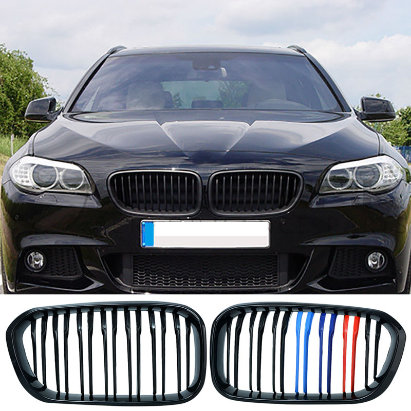 Car Styling Black M Color Double Slat Front Kidney Grille Grill Lattice For BMW F20 LCI 1 Series 114i 116i 118i 120i 125i f20 pre lci carbon fiber abs front kidney grille for bmw f21 120i 118i 118d 116i m135i 2012 2013 2014