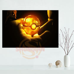 P0423 Pokeball Orange Cartoon Poster Custom Satin poster print cloth fabric wall poster print Silk Fabric Print