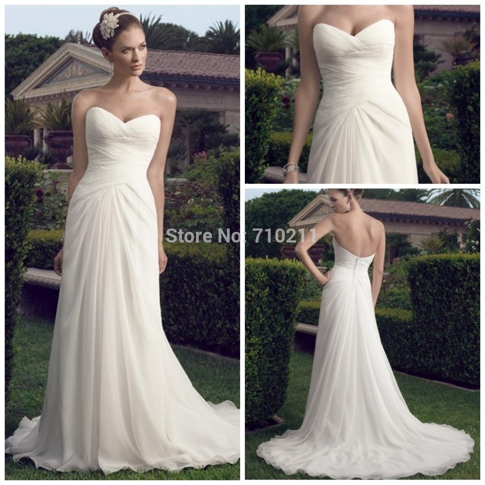 Cheap Sweetheart Beach Wedding Dress Strapless White