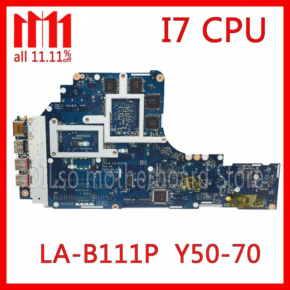KEFU ZIVY2 LA-B111P материнская плата для lenovo Y50-70 материнская плата для ноутбука i7 Процессор GTX860M оригинальный Тесты Материнская плата ноутбука