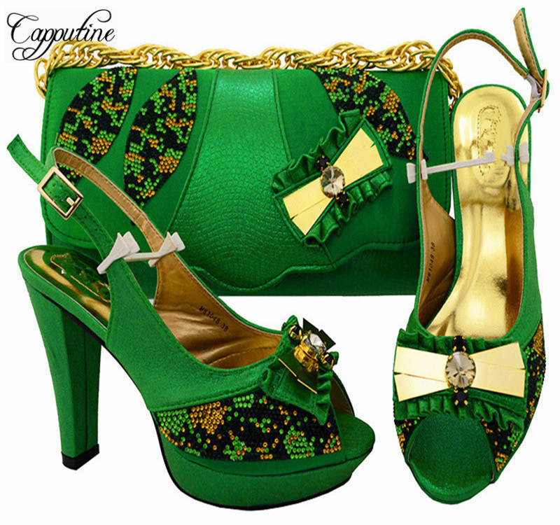 Capputine New Arrival Green Color High Quality African Woman Shoe And Bag Set 2018 Nigerian Shoes And Matching Bag Set MM1048 doershow shoes and bag set matching shoe and bag set for african party nigerian women shoe and bag set to match for lady szq1 11