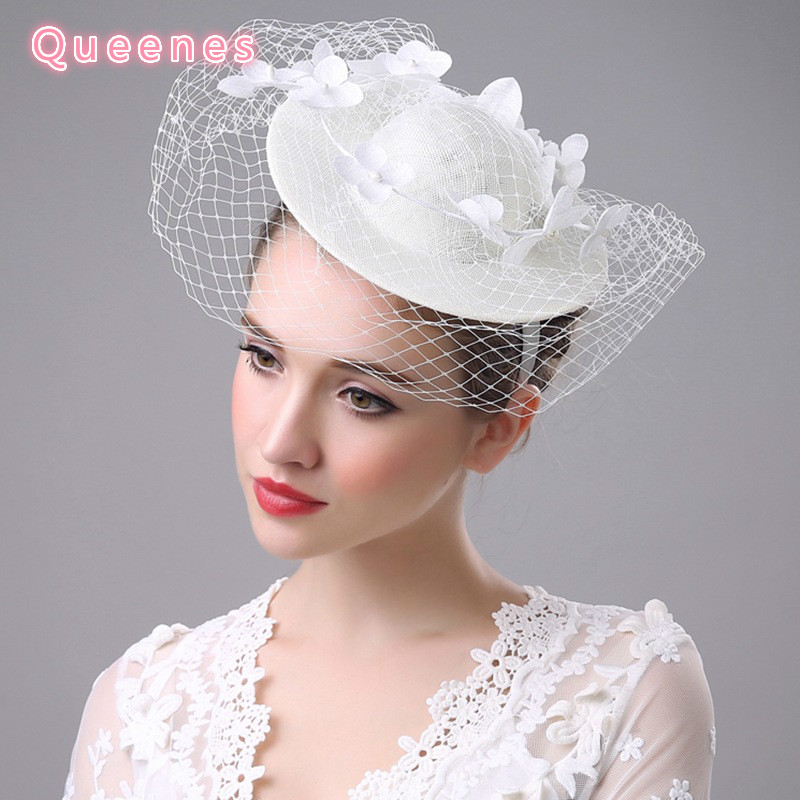 Fashion Beige WHite Lace Flower Bridal Fascinator Hats Hairband Party  Cocktail Wedding Floral Women Fancy Veil Headpiece Hat-in Women s Hair  Accessories ... 2cc6da725b4