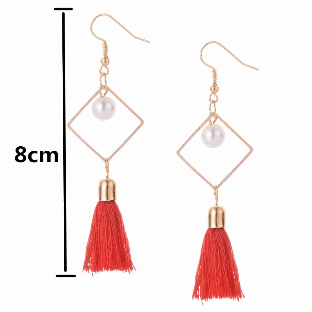E0122 Fashion Jewelry Imitation Pearl Long Tassel Drop Earrings For Women Excellent Red Black Gray Earring Hot Sale Elegant Lady