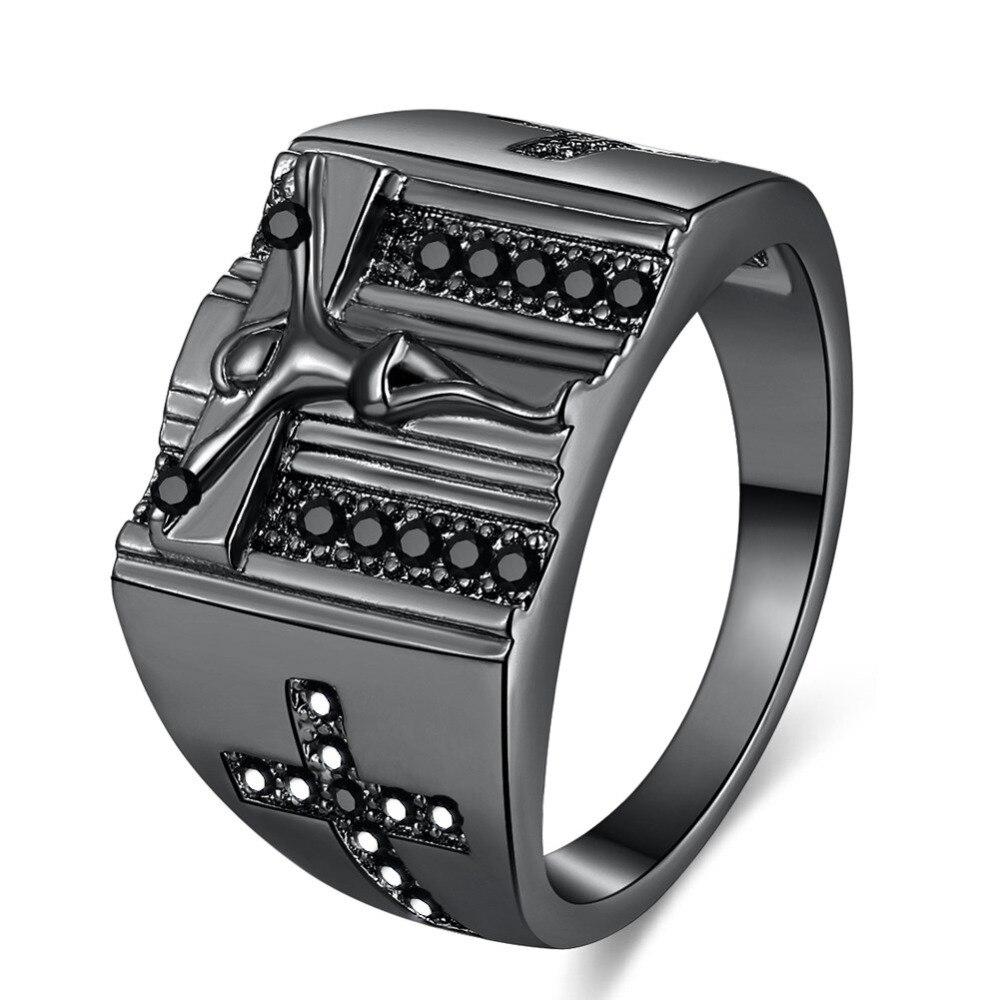 Hip Hop Jesus Cross Cubic Zirconia Ring Men Black Gold Silver Stainless Steel Wedding Bands Male: Black Wedding Bands Him At Websimilar.org