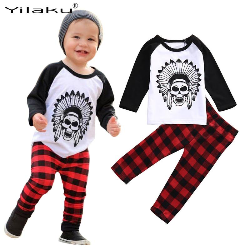 Autumn Baby Boys Girls Clothes Set Kids Cartoon T-shirt+Plaid Pants Newborn Baby Clothing Sets Children 2PCS Casual Suit CF506