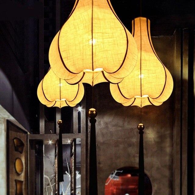 Chinois tissu pendentif lumière chambre étude villa lampes art sud-est lumières soie tissu chinois traditionnel pendentif lampes ZS13