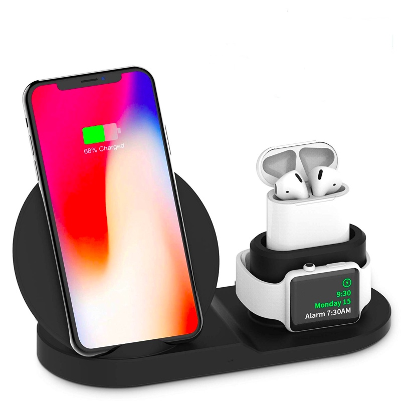 3 In 1 Fast  Wireless Charger for Apple Watch  1 2 3 4 Airpods iPhone 8 Plus X XR XS MAX Dock Station QI Wireless Charger Stand