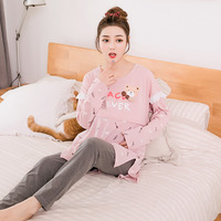 Spring And Autumn Maternity Cotton Pajamas Summer Fashion Home Suits Pregnant Women Cartoon Bear Clothing