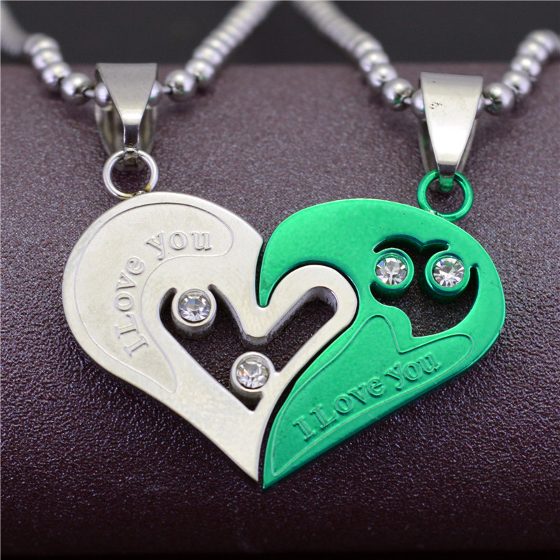 70979de6ca New Fashion Stainless Steel Mens Womens Couple Necklace Friendship Puzzle  CZ Love Matching Heart Pendants-in Pendant Necklaces from Jewelry &  Accessories on ...