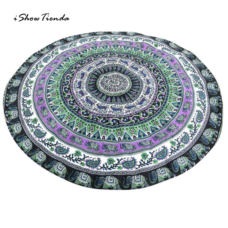 ISHOWTIENDA New 1pc Intricate Design 150cm Diameter Round Beach Pool Home Shower Towel Blanket Table Cloth Yoga Mat New