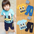 2015 Summer Sport Baby Boys Donald Duck Cartoon Short Sleeve t-shirt +Pants Outfits 2pcs Clothes Set For Boy