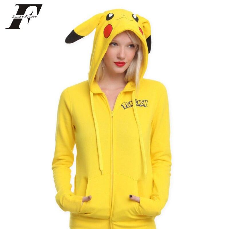 2017 kawaii Women /men Jacket Yellow Solid Pokemon moletom Pikachu 3d tracksuit Costume Zip Totoro oversized hoodie Sweatshirt