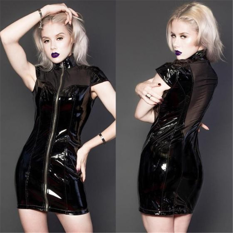 Black Sexy Lace Dee V Bakc PVC Dress Wet Look Bodycon Sheath Vinyl Clubwear Mini Dress