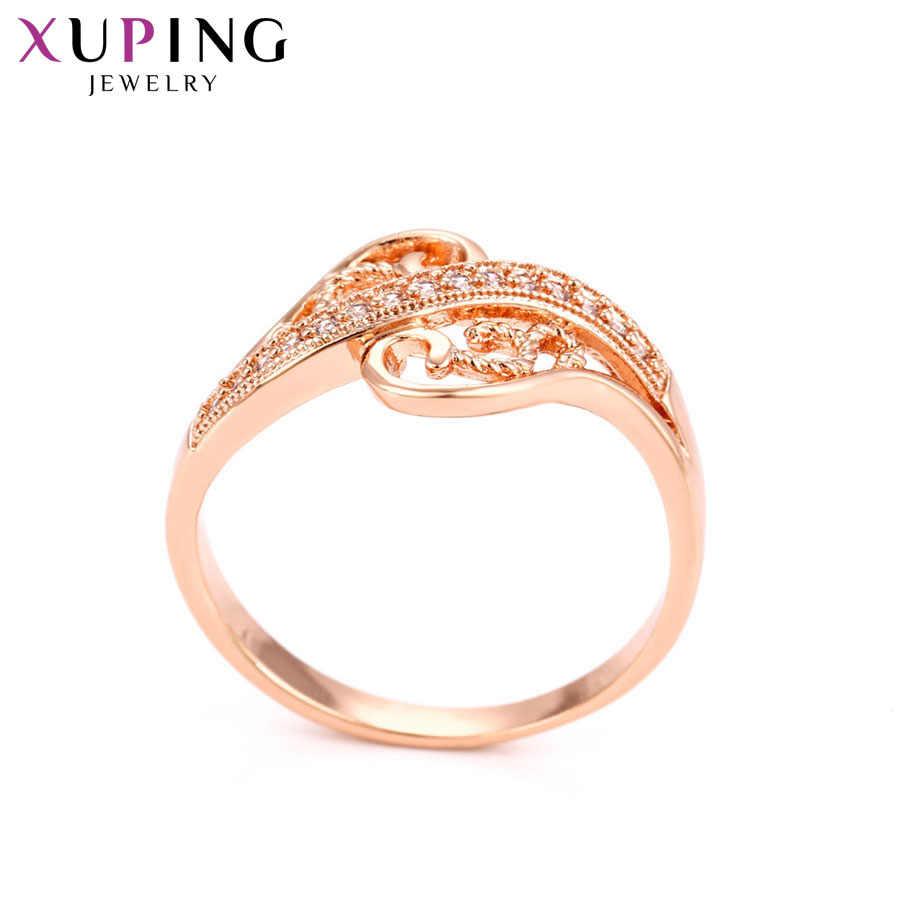 Xuping Mewah Pesona Elegan Gaya Warna Rose Emas Plated Cincin untuk Wanita Wanita Perhiasan Pesta Hadiah Valentine S77, 6-15050