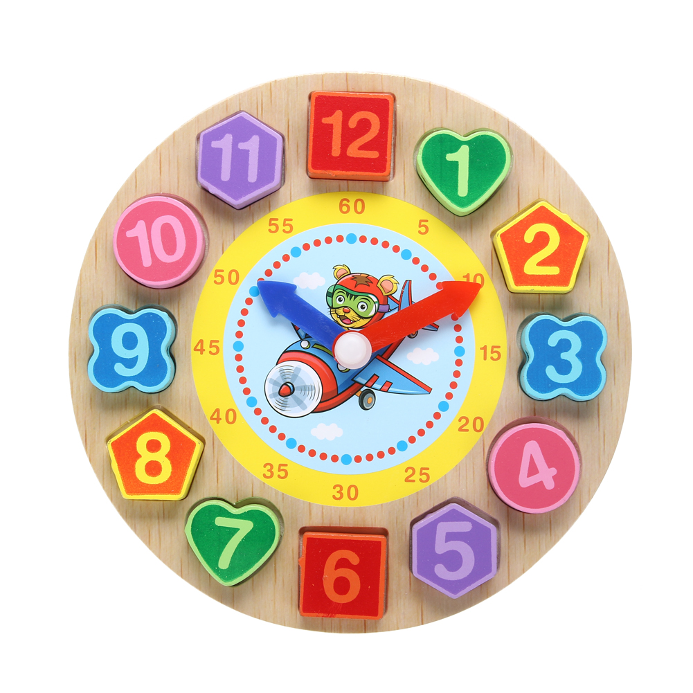 Cartoon Threading Clock Colorful Wooden Digital Beads Geometric Puzzle Board Kids Educational Learning Toy Clock Children Gift candice guo multifunctional dora scene digital clock toy educational wooden puzzle baby time early learning 1pc