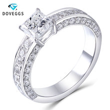 DovEggs Solid 14k White Gold 5.5mm Princess Cut F Color Moissanite Engagement Ring with Accent Delicate Wedding Band for Women delicate solid color hollow out leaf cuff ring for women